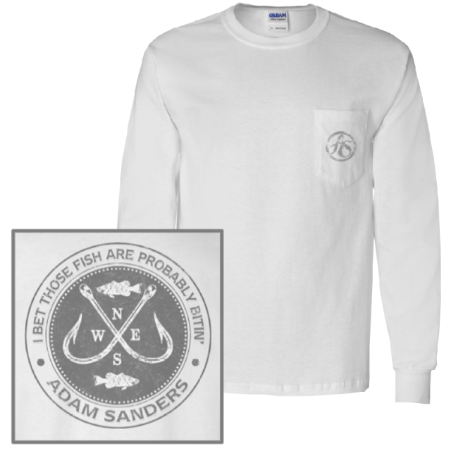 Adam Sanders Long Sleeve White Pocket Tee