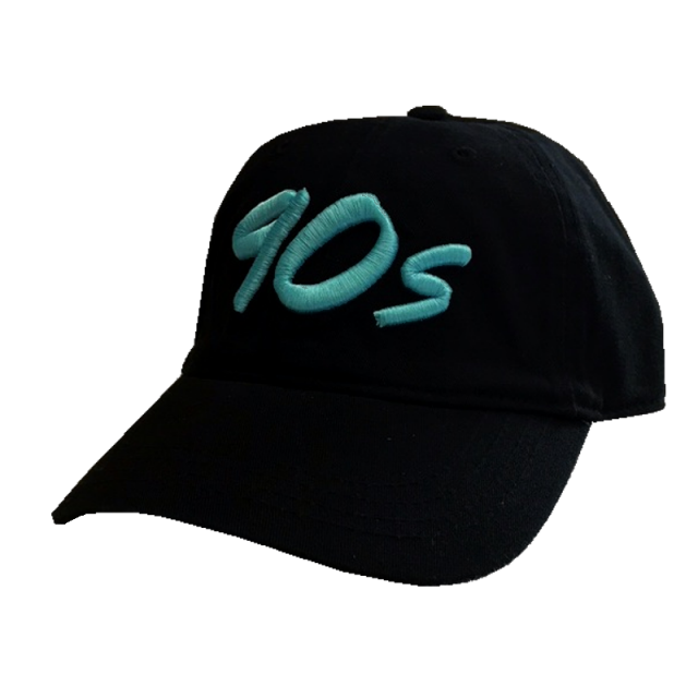 The Best Decade in Country Music Unconstructed Black Ballcap- Teal Logo